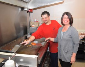 Chef Stacy Maple, Sous Chef Ryan Ross grilling at Bistro 163